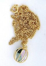 Natural Tourmaline Crystal Gold Plated Cage + 24 Inch Chain Pendant