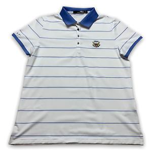 RLX Ralph Lauren Women's Golf Polo Shirt USGA White Blue Striped Size Large