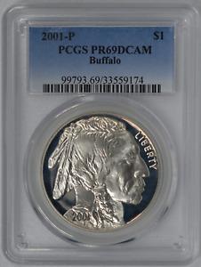 US Silver $1 Commemorative 2001-P Buffalo PCGS PR69DCAM Proof Coin