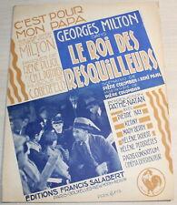 Grande Partition - GEORGES MILTON / Le Roi des resquilleurs - Salabert 1930