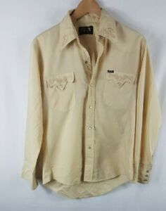 Vintage Mens Bar M Rancher Shirt M Size Medium Khaki Vtg Pearl Snap Western