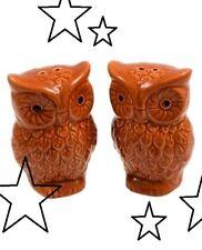 New Ceramic Owl Autumn Salt & Pepper Shakers Fall or Thanksgiving Decor