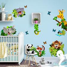 R00434 Wall Stickers Adesivi Murali Camerette animali giungla 30x120 cm