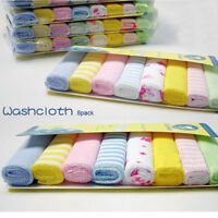 Set of 8Pcs Baby Newborn Face Washers Hand Towel Cotton Feeding Wipe Wash Cloth