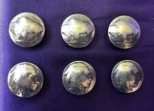 Set of Six (6) Vintage Buffalo Nickel Button Covers
