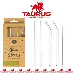 4 x GLASS Drinking Straws Eco Friendly Cleaning Brush Party Use Shake Straw UK