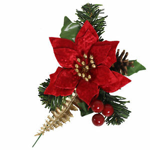Christmas 12cm Artificial Red Poinsettia Stem with Gold Detail