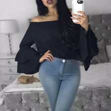 UK Women Bardot Gypsy Blouse Bandeau Off Shoulder Tops Long Bell Sleeve Top Prom