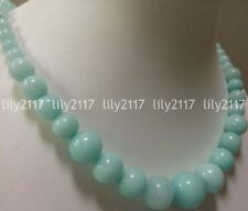 "Natural 6-14mm Light Blue Brazilian Aquamarine Gems Round Beads Necklace 18"" AAA"