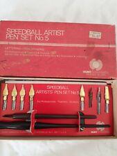 Vintage Speedball Artist Pen Set No. 5 Platignum Lettering Set & Two Quill Pens