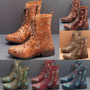 Women Retro Floral Ankle Boots Lace Up Chunky Low Heel Combat Boots Shoes Size