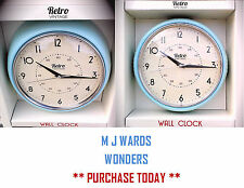 "Retro Vintage Wall Clock - Light Blue - 9.1/2"" Dia ** GREAT GIFT!! **"