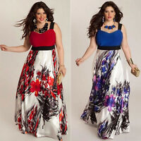 Plus Size Women Floral Printed Long Maxi Evening Party Prom Gown Formal Dress UK
