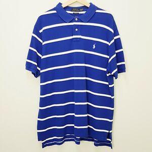 RALPH LAUREN Polo Mens Size XXL Striped Custom Fit Polo Shirt Top