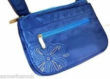 Travelon Zip Top Clutch Wallet Cross Body Safe Travel Hand Bag Purse BLUE Nylon