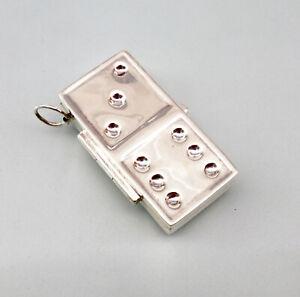 9927759 925er Silber Miniatur Pillendose Dominostein mit Öse als Anhänger