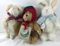 Boyds Bears Mini Plush Bunny Mouse and Bear Lil Petey Tomato Head Archive 90's