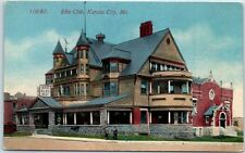 "Kansas City MO Postcard ""Elks Club"" BPOE Lodge House Street View Acmegraph 1910s"