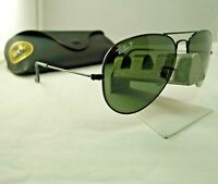 RAY-BAN RB3025 002/58 BLACK G15 GREEN POLARIZED AVIATOR SUNGLASSES 58MM NEW 9.9
