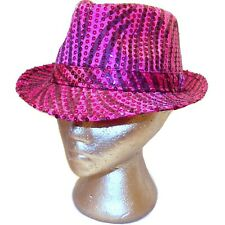 Justice Youth Fuchsia Pink Sequin Sparkle Animal Print Zebra Fedora Hat Size 7