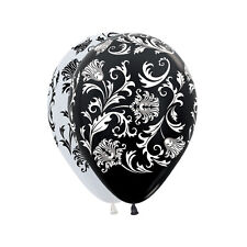 Damask Pearl/Met Wht & Blk 30cm Latex Balloons AOP Wht & Blk Ink 6pk