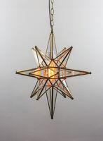 Star of Bethlehem Moravian Lamp Clear Glass & Gold Metal Tin Pendant Light 20 IN