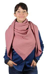 XXL Musselin Tuch 100% feine Baumwolle ca.130x130 cm Damenhalstuch Altrosa Damen