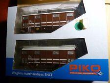 """Set de 2 wagons couverts brun SNCF """" Primeurs"""""""
