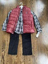 Boys Size 6 Calvin Klein Vest Cordorouy Plaid Set NWT $80 Black White Red