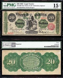 """Very Rare 1862 $20 """"GREENBACK"""" Legal Tender Note! FREE SHIPPING! PMG 15/n! 83519"""