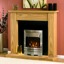 """ELECTRIC OAK WOOD SURROUND SILVER BLACK LED FLAME FIRE WALL FIREPLACE SUITE 48"""""""