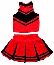 Kinder/Mädchen Mini Cheerleader-Kostüm/Fasching/Halloween Kleid Rot/Schwarz