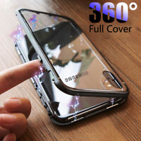 For Samsung A20E A40 A50 A70 Magnetic Adsorption Metal Tempered Glass Case Cover