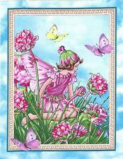 """Flower Fairy Butterflies Fabric 7.5"""" x 10"""" Quilt Blocks Ff6"""