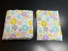 Crate and Barrel Kids Organic Pastel Floral Twin Duvet and Sham Girl Purple Pink