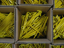 """A box of 100 yellow steel stakes. 10"""" long, Great for Tarps! USA! 31210BYL100"""