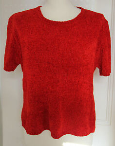 Red Knitted Short Sleeve Pullover - Alibi - Size M/L