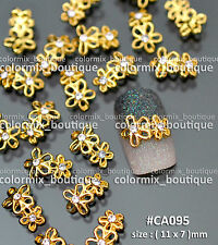 10pcs Gold Alloy Nail Art Deco Floral Shape Glitter Jewelry Rhinestones #CA095
