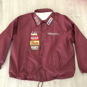 Vintage Hershey's Patches Coaches Jacket Size XXL Made in USA Maroon RARE