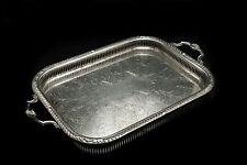 More details for antique silver plated chased pierced two handled service tray