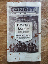 1929 Condit Electrical Corp. Safety Catalog Industrial Hand Book Boston MA