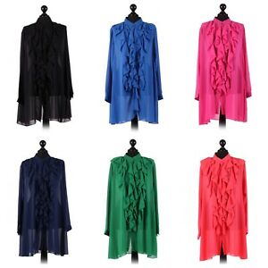 Italian Front Button Frilled Chiffon Top. One size 18-24.