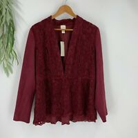 Chicos Jacket Womens Size 2 L Red Maple Feminine Faux Suede Lace Long Sleeve NWT