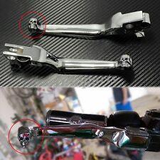 Motorcycle Parts Skull Chrome Hand Levers Brake Clutch For Harley Bobber Chopper