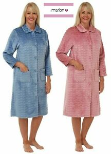 LADIES EMBOSSED HEARTS SUPER SOFT BUTTON UP THROUGH DRESSING GOWN*FLEECE MA29412