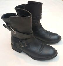 c2015631a8a STEVE MADDEN BLACK LEATHER 2 BUCKLE PULL ON ANKLE BOOTS 1.5