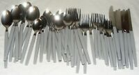 Vintage Stainless Steel Gray Melamine Plastic Handle 48 Piece Flatware Set