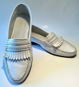 BRUNO MAGLI Loafers WHITE 9 M Leather Moccasins Shoes ITALY