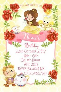 Beauty and the Beast Belle Party Personalised Invitations and Envelopes x 10