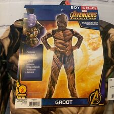 Marvel Avengers Groot Costume Muscle Chest Halloween Dress Up Sz 4-6 Small New